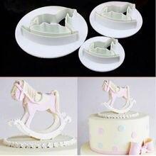 3 pièces/ensemble Hobby en bois cheval Fondant gâteau Cookie pâtisserie Cutter moule pâte Sugarcraft plongeur décoration bricolage