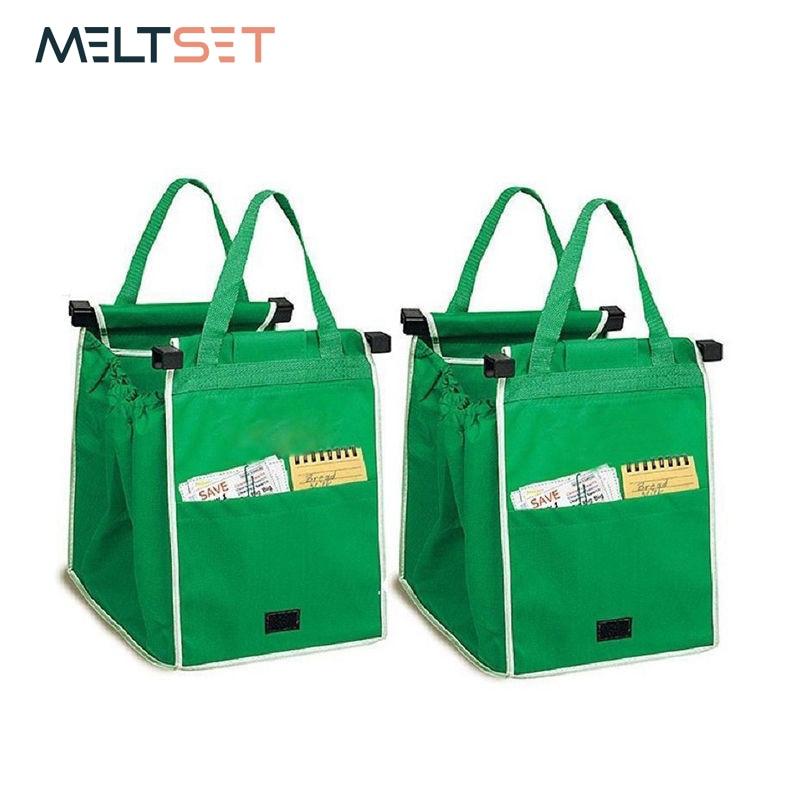 1pc New Reusable Shopping Cart Bags Eco-friendly Folding Tote Supermarket Handbag Home Organizer