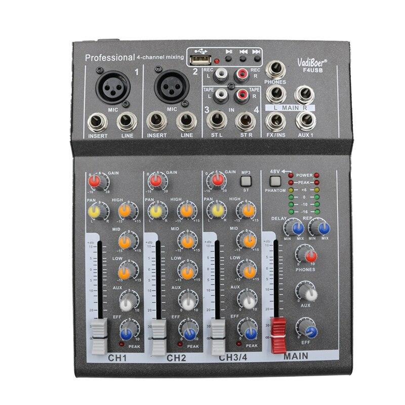F4usb 4 canais eco voic efeito mixer para a fase casa karaoke dj 48 v phantom energia usb eco voic efeito de áudio mixer bluetooth