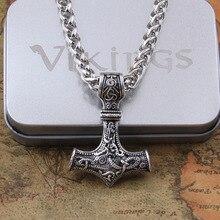 Дропшиппинг 1 шт Молот Мьёльнир Тора кулон ожерелье викинга скандинавский, норвежский колье с кулоном в стиле викингов с цепочкой из нержавеющей стали