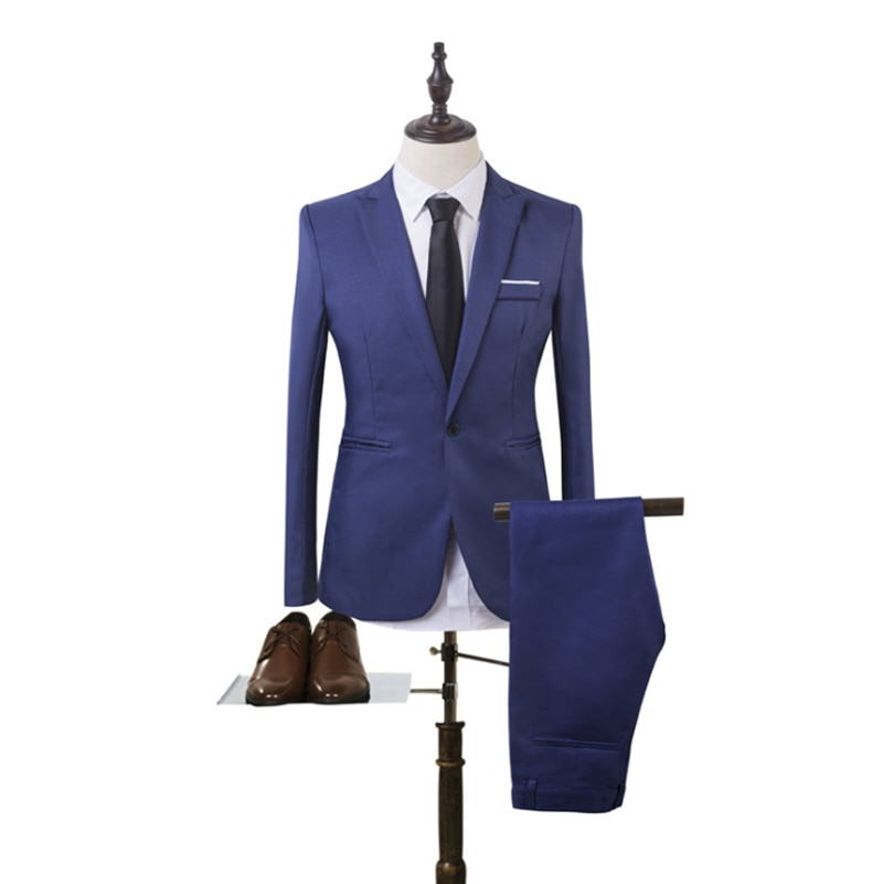 Королевский синий мужской костюм из 2 предметов идеально подходит для свадьбы