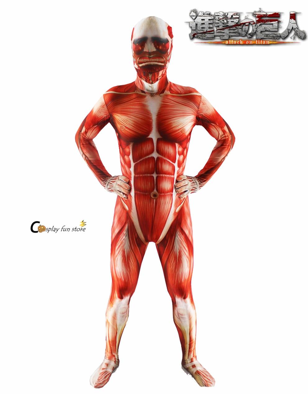 Ataque a titan cosplay Shingeki não cosplay Kyojin Colossal Prop Justas Muscle Man trajes de halloween para homens adultos zentai