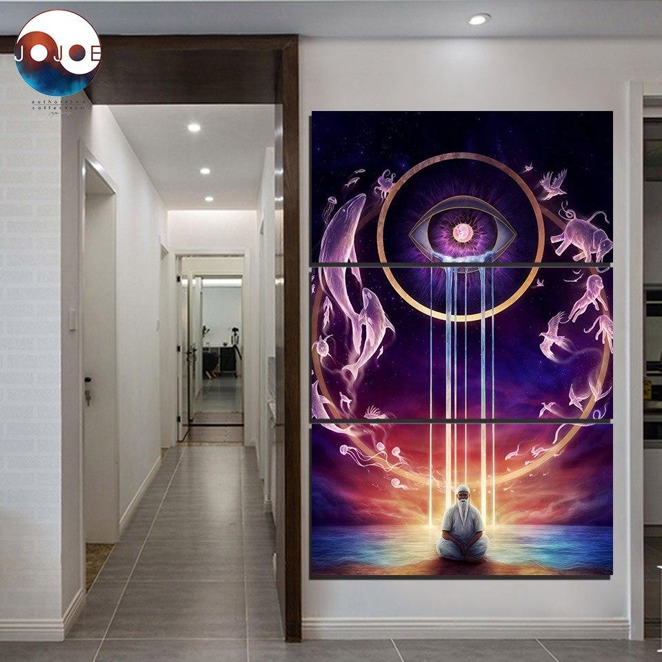 Círculo de la vida 2 DE JoJoesArt HD impresión 3 piezas lienzo arte meditación vida ciclo pintura con marco decoración del hogar CU-3190C