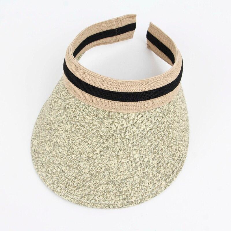 Gorro de verano vacío para mujer, sombrero de paja de rayas, gorras de visera para mujer, con cabezales grandes, protección UV para mujer tapa de banda elástica L23