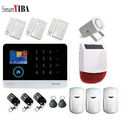 SmartYIBA Security Alarm System Wireless Wifi Burglar Alarm Sensor Motion with Solar Siren Alarm GSM Home Security APP Control