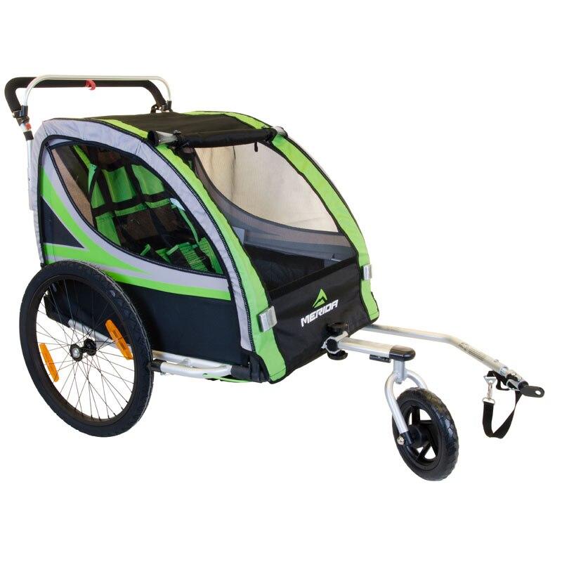 Remolque de bicicleta 2 en 1, cochecito de niño con doble freno, rueda de aire, remolque de bicicleta