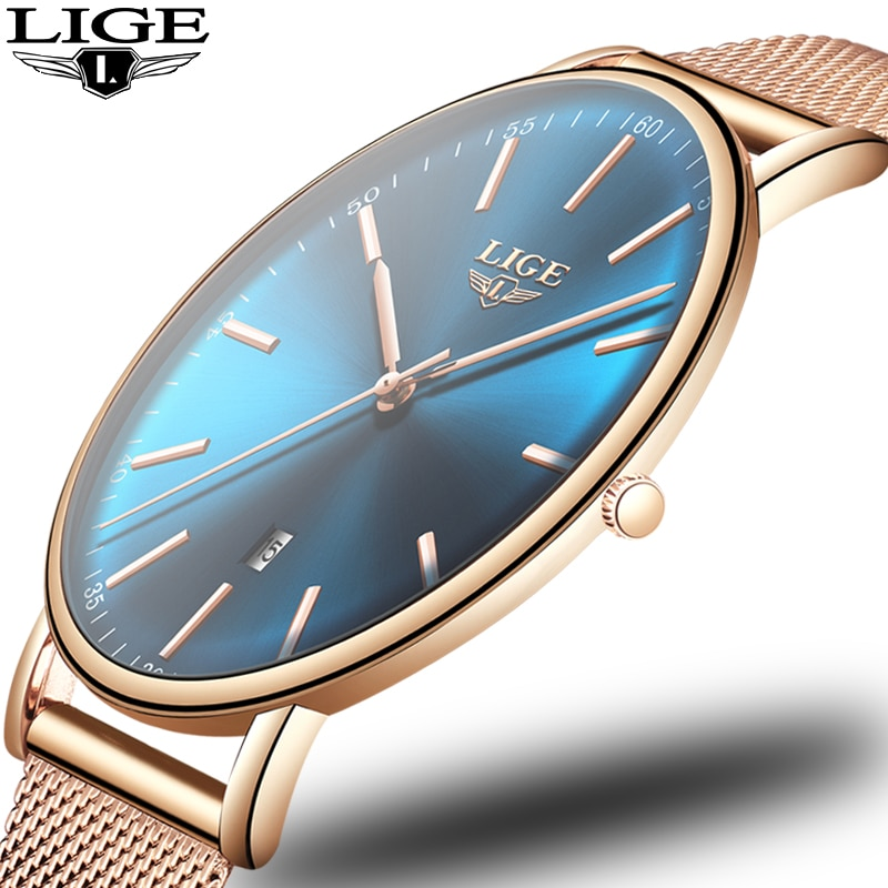 2021 Women's Watch LIGE Top Brand Luxury Women Fashion Casual All Steel Ultra-Thin Mesh Belt Quartz Clock Relogio Feminino+Box enlarge