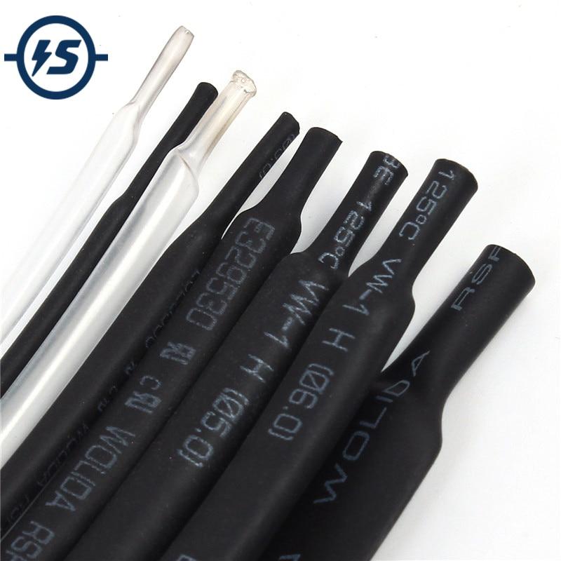 1mm 1Meter 8 Types/Kinds Heat Shrink Tubes Package Heat Shrinkable Tube Tubing 2-8 Component Black White