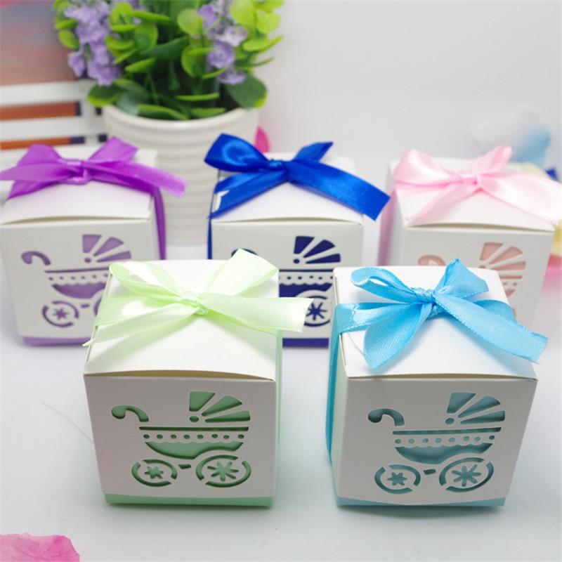 Laser découpé creux bébé chariot Cookie coffrets cadeaux mariage bébé douche bonbons traiter sac faveurs de mariage cadeaux boîte fournitures de fête