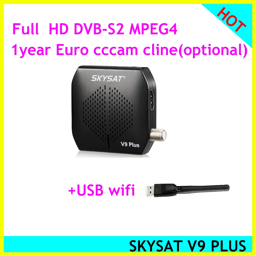 Skysat v9 plus receptor de satélite decodificador satelital apoyo wifi USB a PowerVu Auto PowerVu y YouTube Youporn Cccam