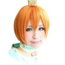 HSIU High quality Rin Hoshizora Cosplay Wig LoveLive! Love Live  Costume Play Adult Wigs Halloween Anime Hair free shipping