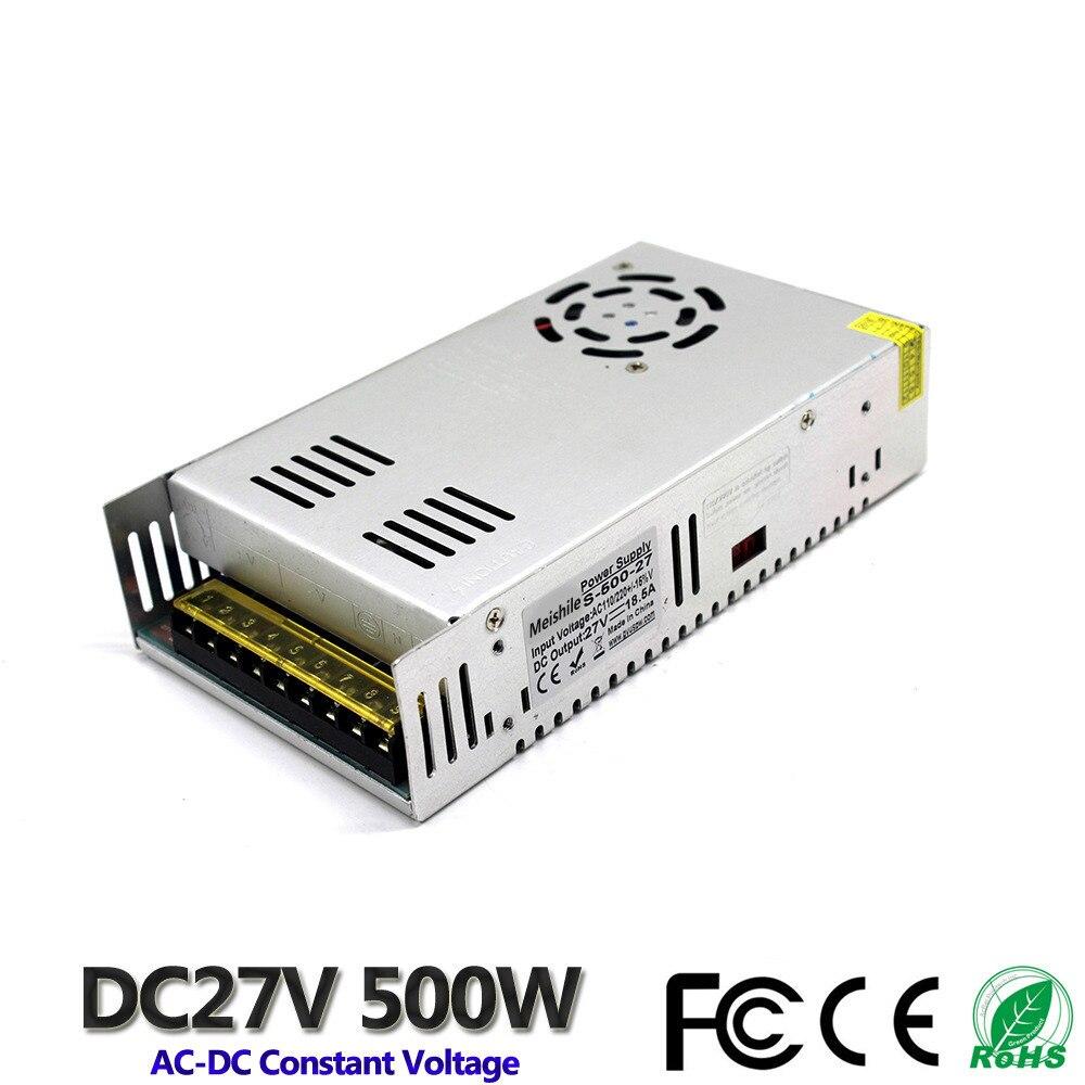 DC 27V 18.5A 500W Correa ligera LED controlador de fuente de alimentación de conmutación 110V 220V AC constante transformador de tensión de vigilancia CCTV CNC