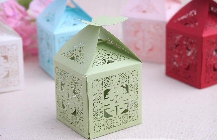Caja para dulces de recuerdo de boda-elegantes cajas chinas Xi favor cajas de papel de mariposa cajas para dulces bolsa de dulces con tema asiático 300 unids/lote