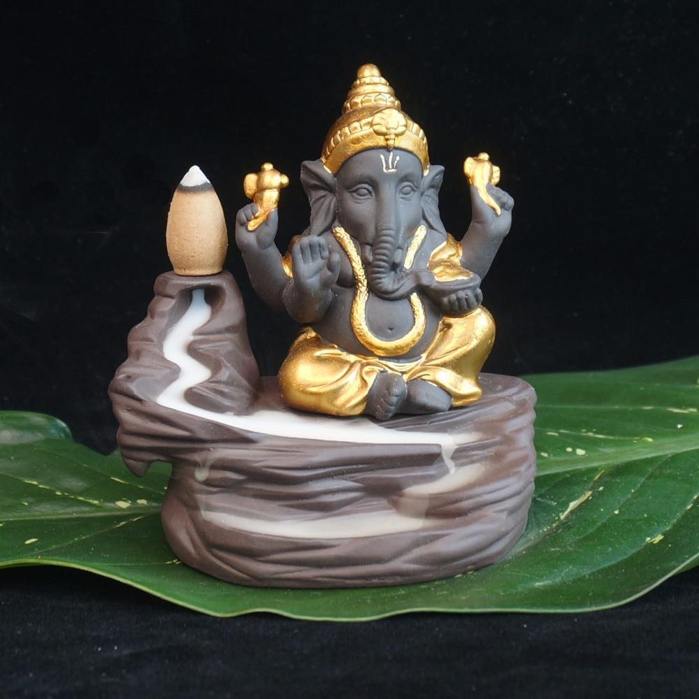 Креативный экологический домашний офисный Декор маленький монах кенсер индийский Властелин Ганеша ack-flow керамическая горелка для благовон...