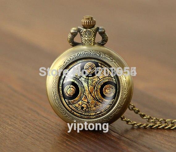 La nueva película de Doctor que cuarzo reloj de bolsillo de 1 unids/lote collar Dr que masters fob Timelord sello medallón collar de joyería de moda hombre