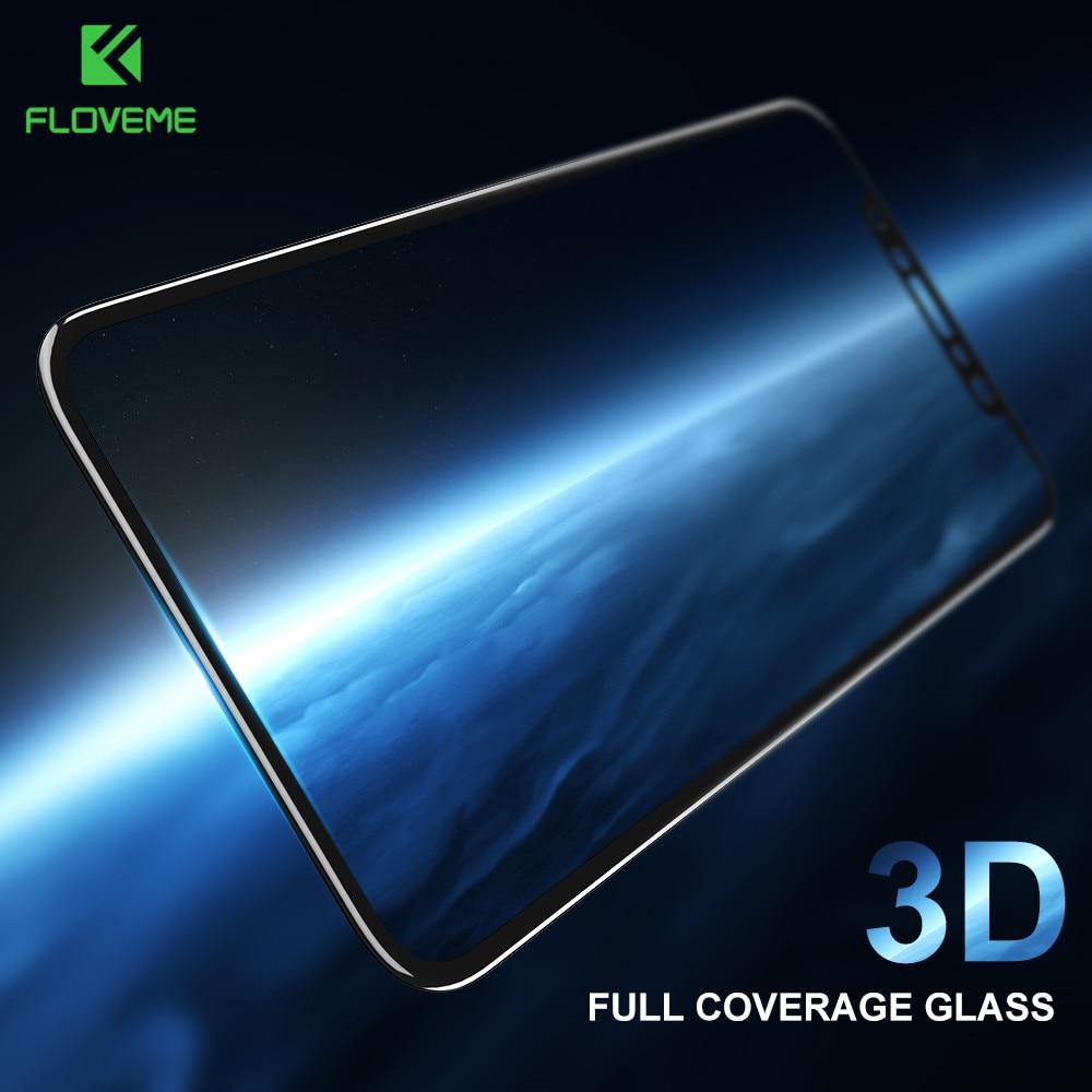 Vidrio Templado curvado 3D FLOVEME para iPhone 6 6s Protector de pantalla de cubierta completa para iPhone 7 8 Plus X 10 película protectora de borde suave