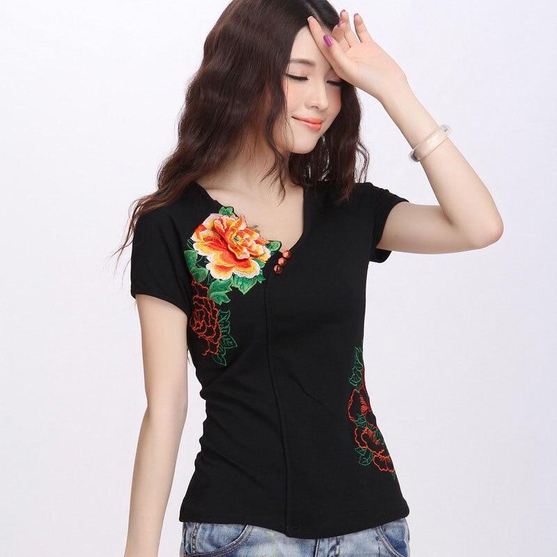 M-5XL viento nacional mujeres flor bordado camiseta nueva llegada verano manga corta Camisetas Mujer Slim Fit camiseta ropa 62262