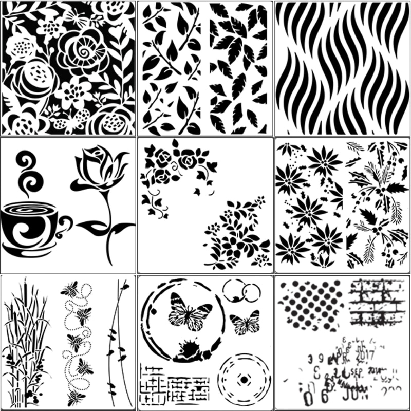 9 шт. трафарет для рисования Аэрограф DIY рукоделие стены Художественная