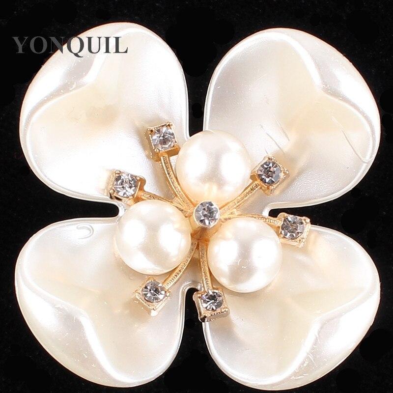 Exquisita crema imitación perla Pin broche de diamante de imitación flor broche Pins mujeres joyería accesorios 10 unids/lote MYQB058