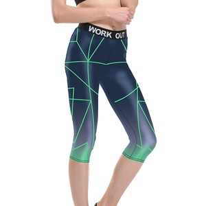 Новинка, женские синие спортивные Капри с принтом в полоску для бега, красные серые брюки с 3D принтом, Капри от S до 3xl