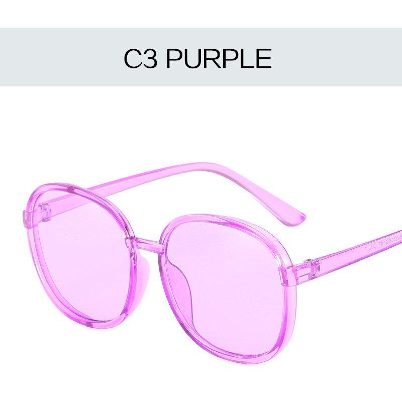 Women Round Sunglasses 2018 Vintage Transparent Color Sun Glasses Female Purple Blue Yellow Pink Sun