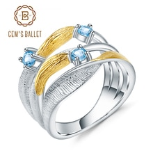 GEMS BALLET 925 en argent Sterling fait à la main bande torsion anneaux 0.47Ct naturel suisse bleu topaze pierres précieuses bague pour femmes Bijoux