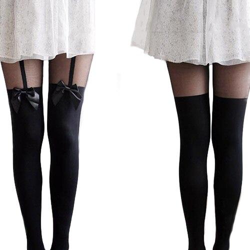 Medias sexis de diseño Vintage, medias finas con lazo falso y tatuaje, al por menor/al por mayor 6DM2