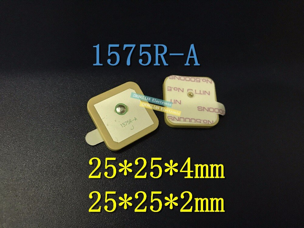 10 Pçs/lote 1575R-A 1575R 1575.42 MHZ Passiva GPS Cerâmica Antena Conector 25*25*4 MM 25*25*2 MM
