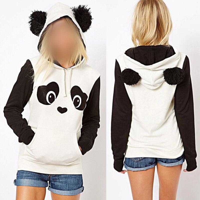 Women's Panda Fleece Pullover Hoodie Sweatshirts Jumper Hooded Coat Tops