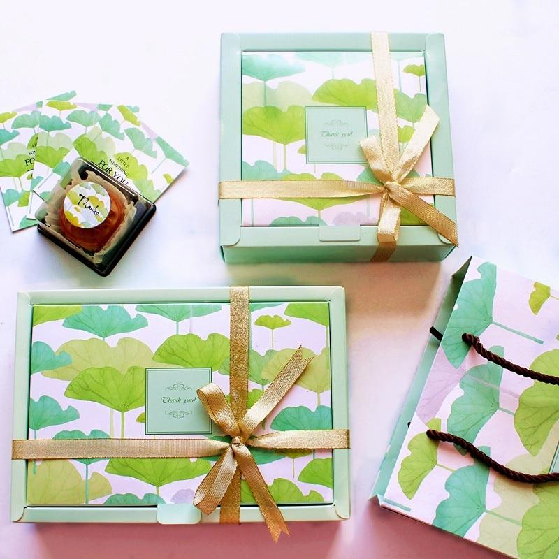 Groen 10 stks lotusblad thema Cookie Papier Doos Macaron Chocolade Snacks Zoete Snoep verjaardagscadeau Verpakking Opbergdozen