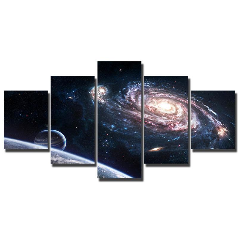 Lienzo Artryst de 5 piezas, impresión de la galaxia, nebulosa cósmica, póster de pared para decoración del hogar, calidad HD, imagen para decoración de pared WY321