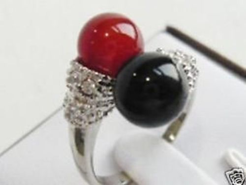 Venda Hot new Style >>>> Sch Nen Schwarzen Achat o Ringgr o 7-9exit Koralle e Schnuffel rote.