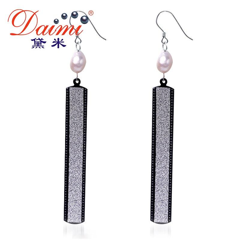 Pendientes largos brillantes de pera barroca de agua dulce DAIMI con cristales para pendientes y joyas para boda