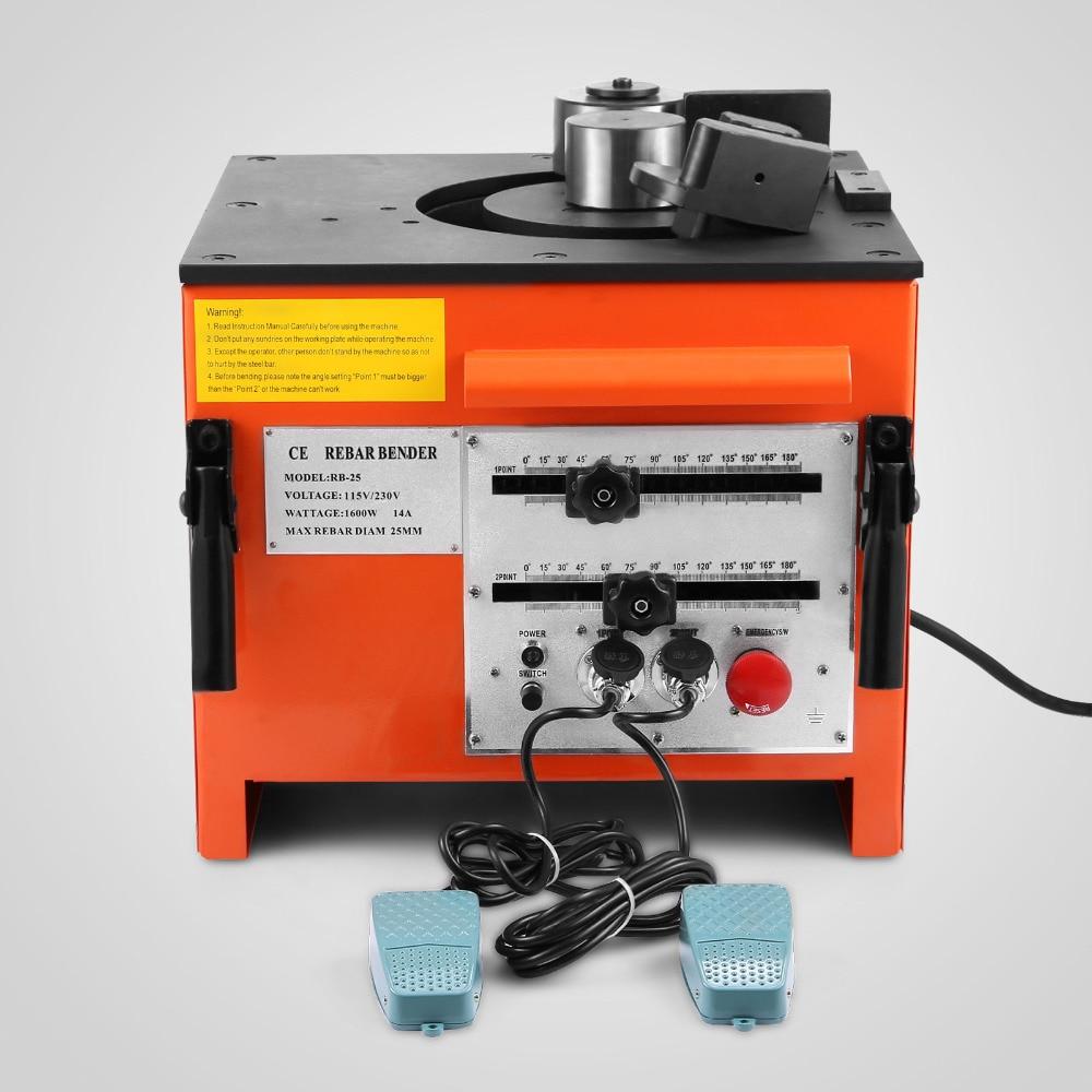 "Stock doblador eléctrico de BARAS de refuerzo interruptor de pie #8 Pedal incluido 1 ""(25mm) grado 60 dobladora de barras de refuerzo de la máquina"