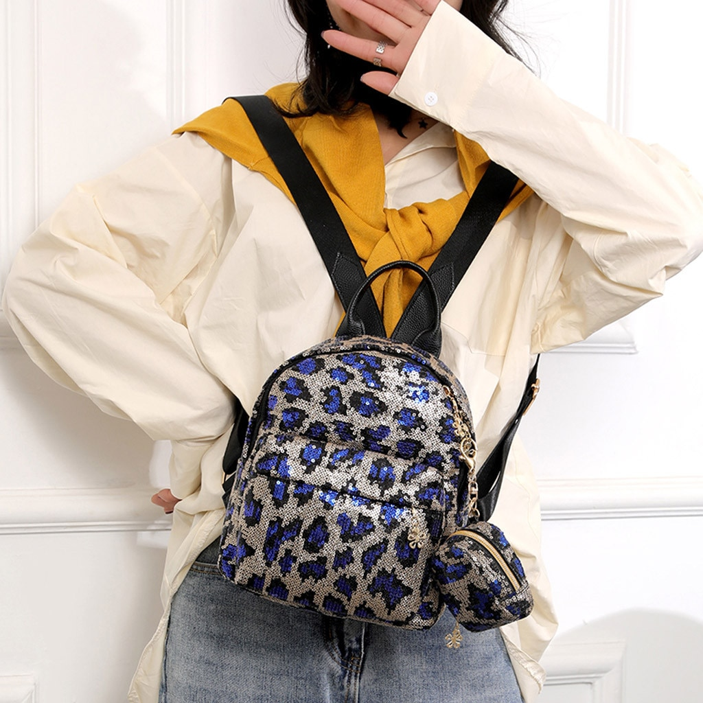 2PC Women's Sequined Leopard Zipper Backpack Brand Luxury adies Girl Fashion School Travel Shoulder Bag рюкзак 2020 New