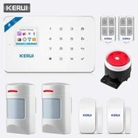 KERUI TFT couleur ecran W18 WIFI GSM bras systeme dalarme appel de securite a la maison pousser APP telecommande sans fil Anti-animal PIR capteur alarme