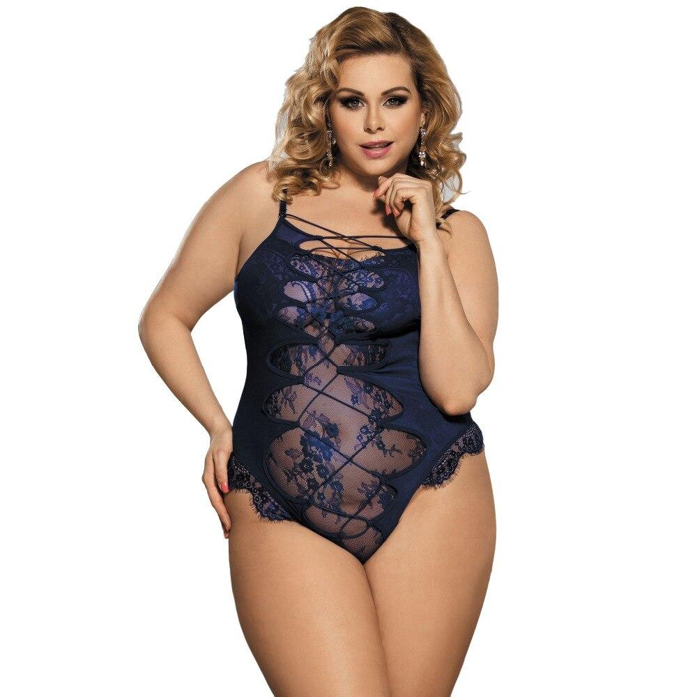 Comeondear Blue Teddy Lingerie Bodysuit Body Lingerie Sexy Hot Erotic High Quality Woman Lace Transparent Sexy Bodysuit R80327