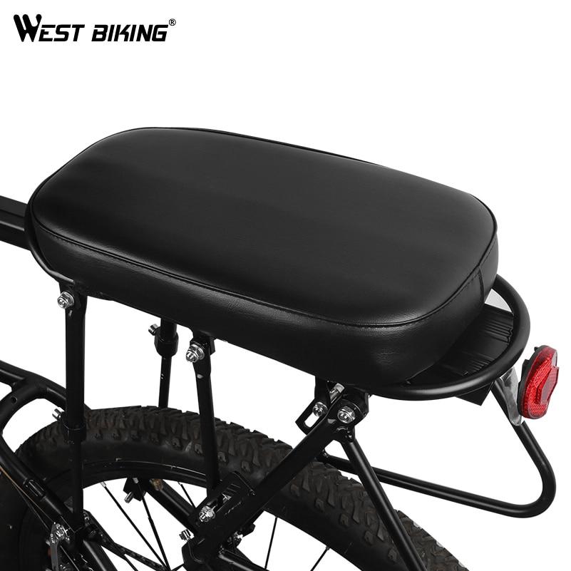 WEST BIKING Bike Rear Saddle PU Leather Thickness Elastic Sponge Soft MTB Road Cycling Seat Pad Rack Cushion Bicycle Saddle