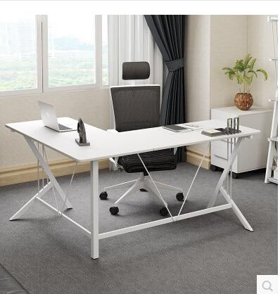 Corner computer desk desktop.. Steel-wood desk. L. double The corner of the table