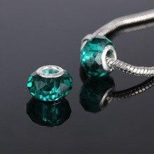 10 pièces/lot. Perles de verre à facettes vert foncé. Breloques grand trou en cristal pour breloque européenne. Bracelets et colliers de Style Pandora.