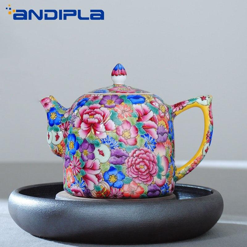 300ml Jingdezhen Boutiques familia de porcelana rosa flores tetera Kung Fu té Set tetera café tetera decoración creativa del hogar