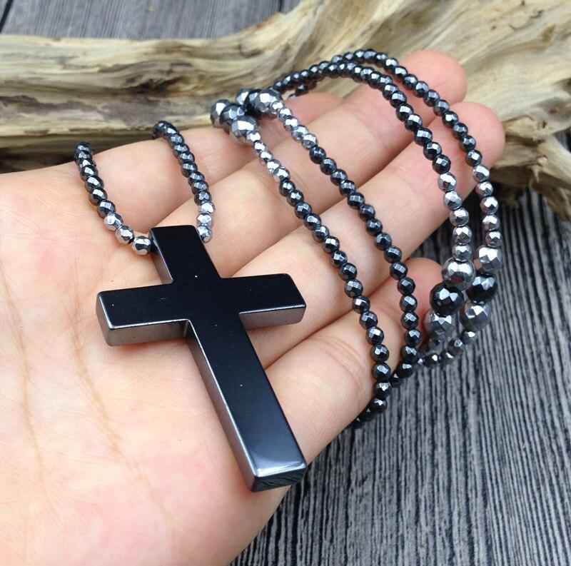 YA2651 Preto Hematita Cruz Hematita Stone Beads Colar 50x33mm escolher o comprimento de 18 polegadas, 24 polegadas, 30 polegadas
