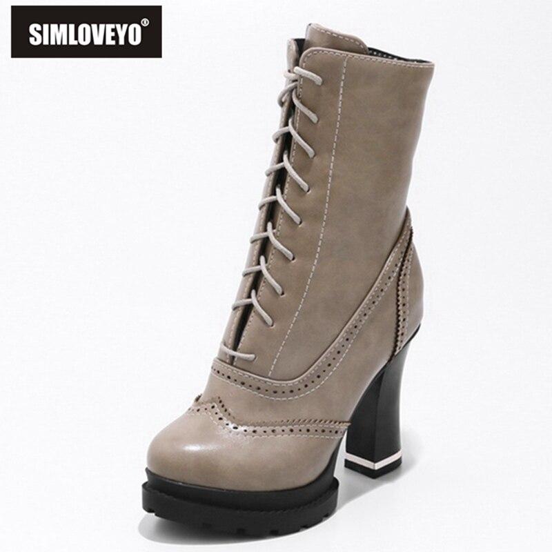 SIMLOVEYO encaje-up Botas de tacón alto de plataforma de talla grande Botas de tacón grueso para mujer nuevo de moda botines A1063