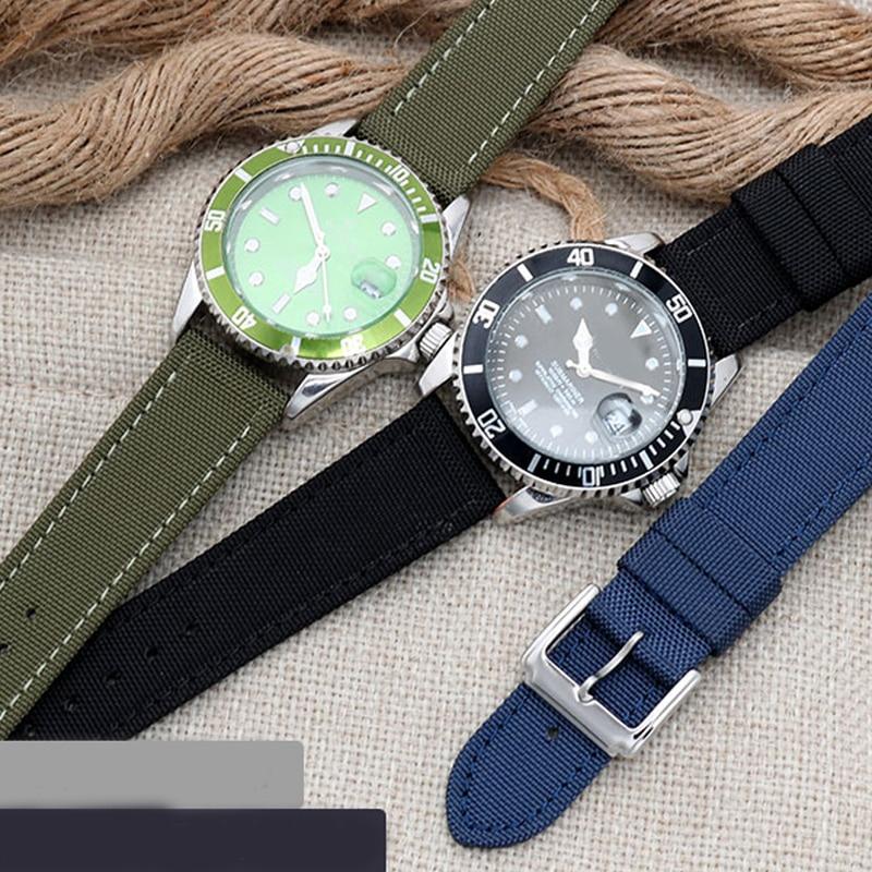 nylon watch strap 20mm watchband 22mm perlon sport watch bracelet 24mm wristwatches band 18mm 23mm genuine leather bottom