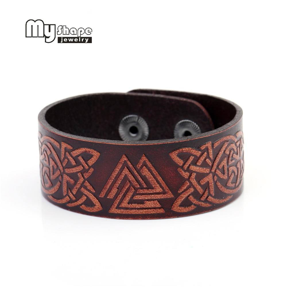 Кожаные браслеты с кельтским узлом и волком в форме My Shape, бижутерия для мужчин и женщин