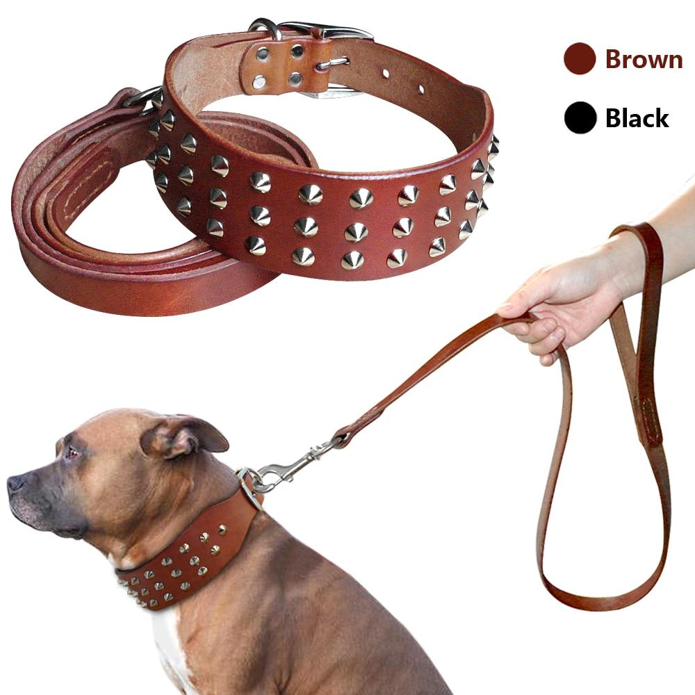 Conjunto de coleiras cravejadas de couro genuíno, para cães tamanho médio e grande, boxer, bulldog s m l preto marrom