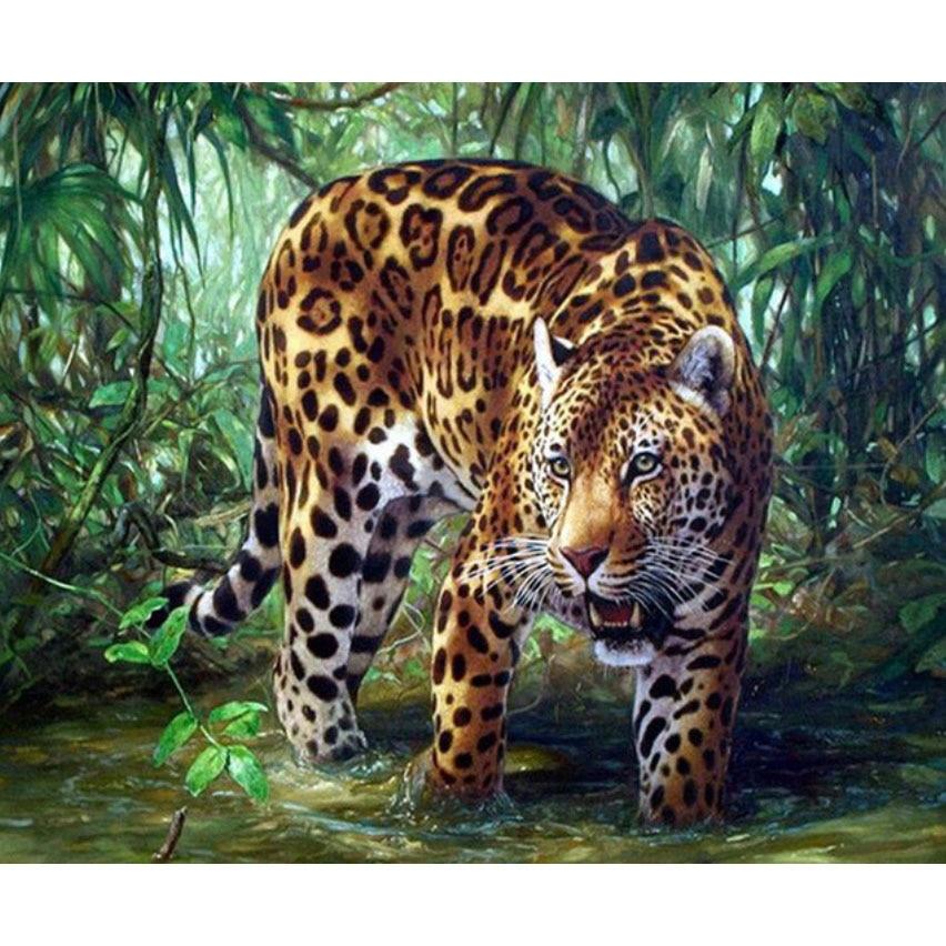 Pintura de bordado de diamantes 3D, taladro completo de diamante, mosaico de punto de cruz, pintura pegada DIY, decoración del hogar, artesanía animal leopardo
