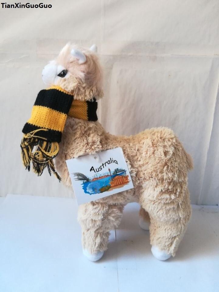 Peluche de alpaca amarillo claro de dibujos animados, gran bufanda de 28x20 cm, muñeco suave de alpaca, juguete para niños, regalo de Navidad w0129