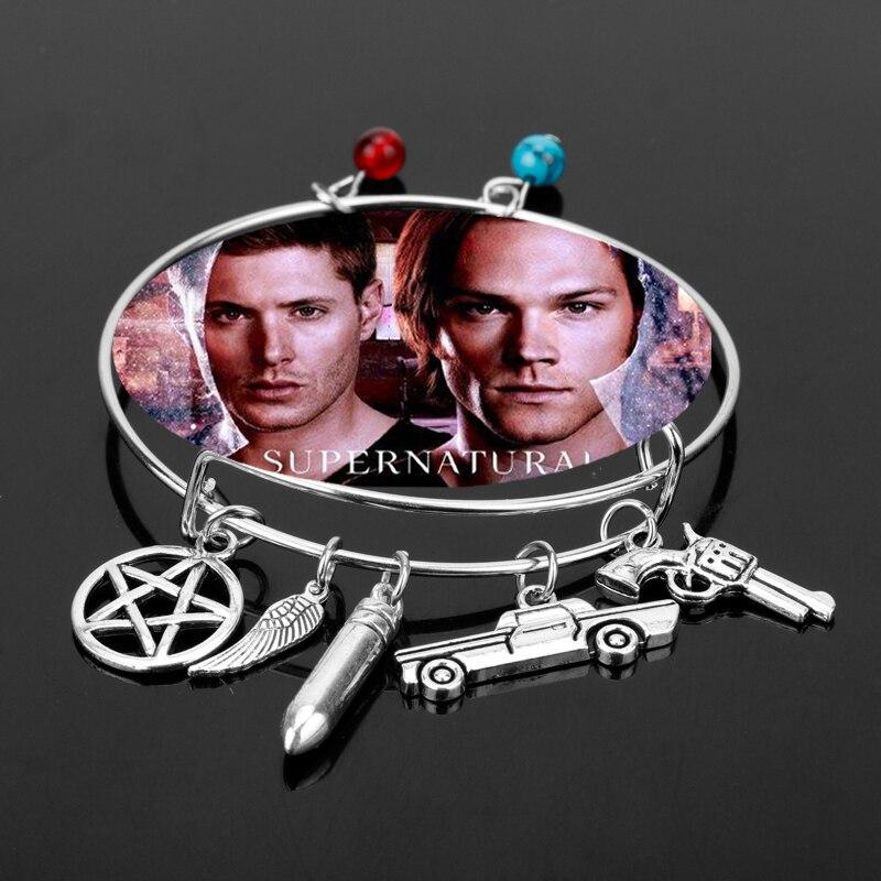 Supernatural Pentagram Wing Pistol Charm Bangle a Bracelet Fashion Jewelry Adjustable Bangles Female Accessory