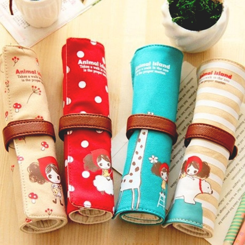 Cute Kawaii Cartoon Canvas Roll Pencil Case Lovely Fabric Roller Girl Pen Bag for Kids School Supplies 1Pc Pencil Bag